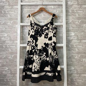 Nine West Black White Fit and Flare Dress Size 8